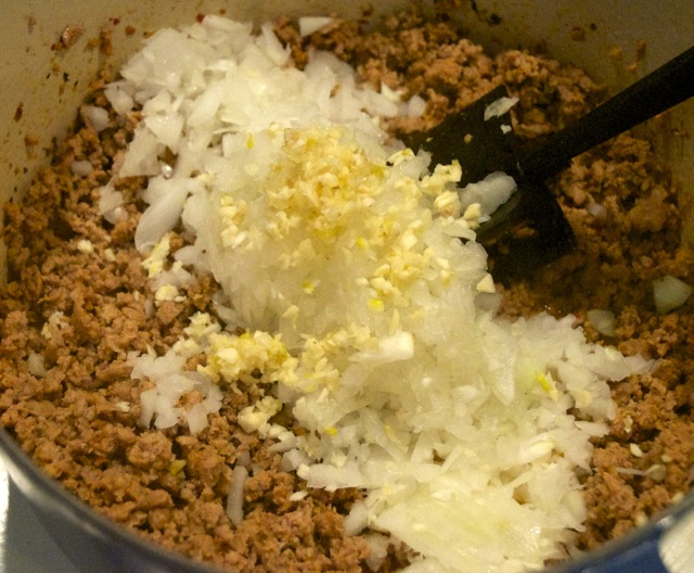 ground meat with onions and garlic