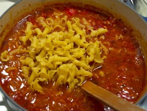 cooking pasta in soup