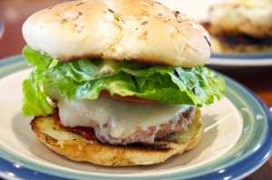 Bacon burgers on onion buns