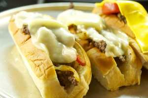 Philly Cheese cubed steak sandwiches