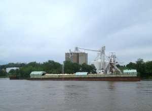 Grain Barge on the Mississippi River
