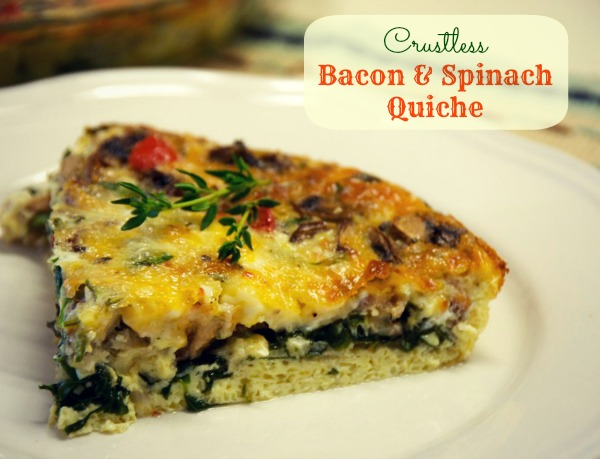Crustless Bacon and Spinach Quiche