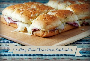 Buttery Three Cheese Ham Sandwiches