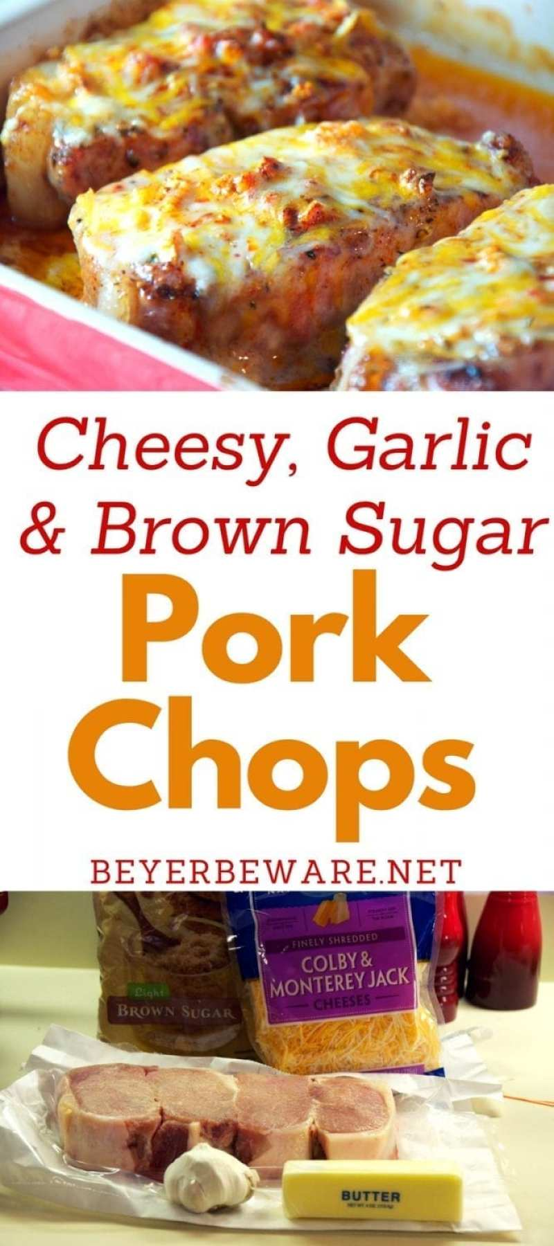 A quick baked pork chop recipe that is full of flavor from the brown sugar and garlic. Adding cheese to the last five minutes of baking make these cheesy garlic and brown sugar pork chops irresistible.
