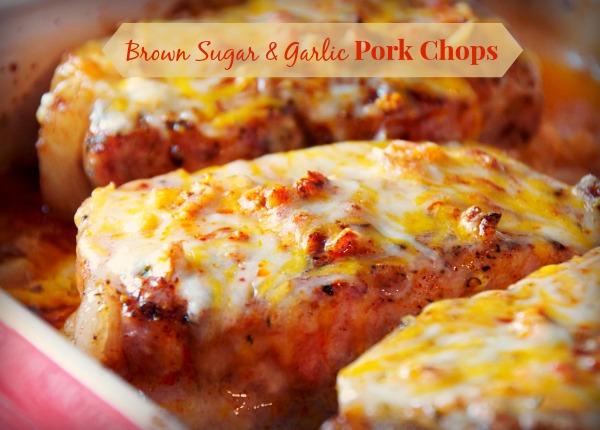 Cheesy garlic and brown sugar pork chops recipe