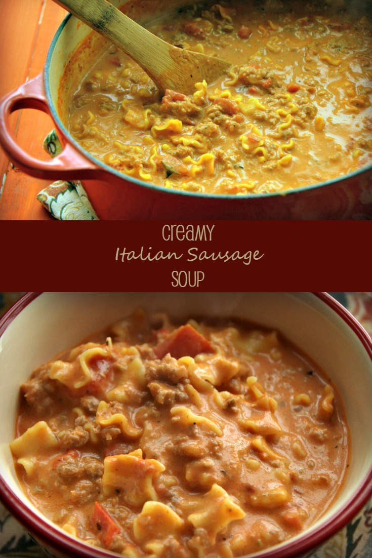 Creamy Italian Sausage Soup is a twist on chili or lasagna soup. So good and feeling. Plus easily low carb and gluten free.