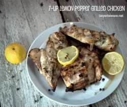 This grilled lemon pepper chicken marinated for two days in 7-Up and garlic. After grilling, this chicken was some of the best grilled chicken I have ever had.