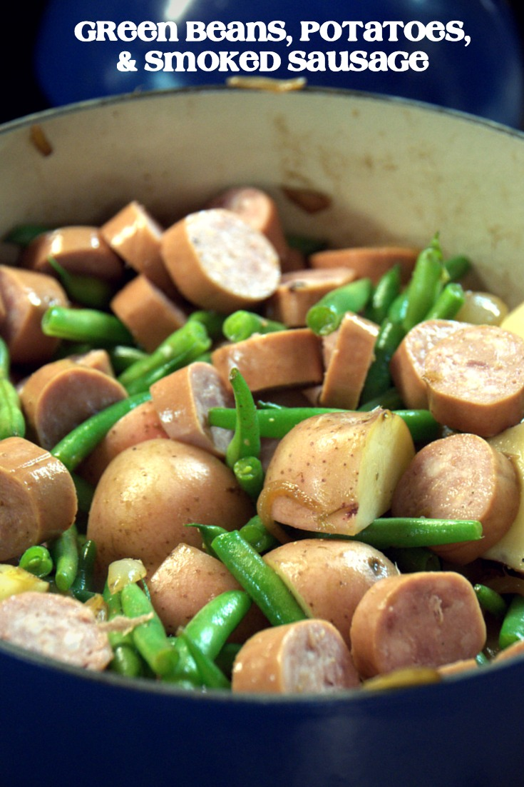 Nothing tastes like summer quite like fresh green beans, red potatoes and smoked sausage that has simmered in caramelized onions. So good. So easy. #5Ingredientsorless