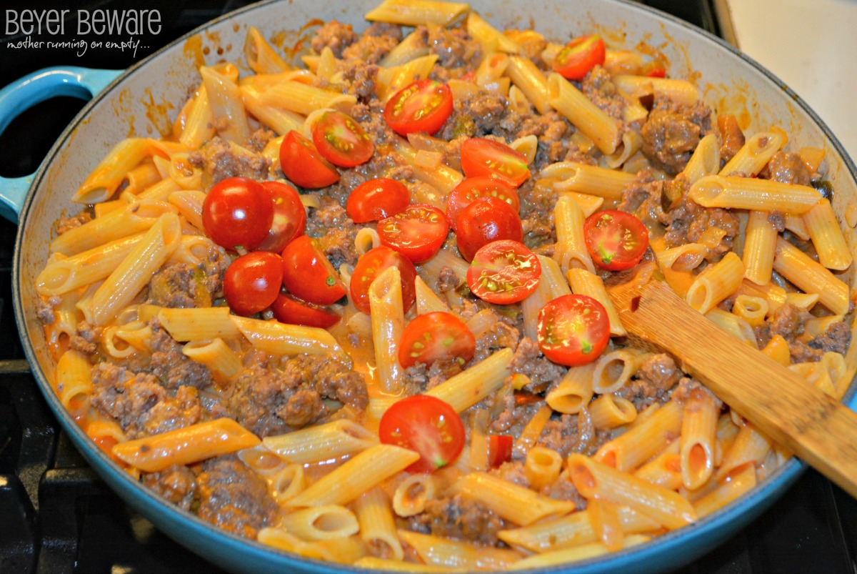 Creamy Tomato and Sausage Penne Pasta is a quick weeknight meal recipe.