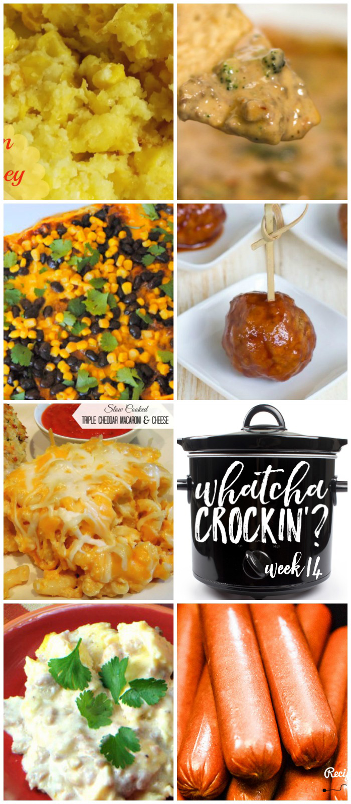 This week's Whatcha Crockin' crock pot recipes include Creamy Cheese Corn Bake, Slow Cooker Triple Cheddar Mac n Cheese, Cooking Hot Dogs in Bulk, Crock Pot Cherry Jalapeno Meatballs, Crock Pot Scrambled Eggs Casserole, Beefy Broccoli Dip, Crock Pot Tex Mex Casserole and much more!