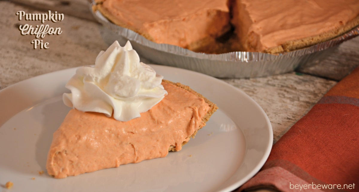 This Pumpkin Chiffon Pie recipe is the silky and creamy version of the traditional favorite pumpkin pie.