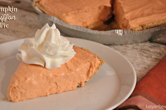 This Pumpkin Chiffon Pie recipe is the silky, creamy version of the traditional pumpkin pie. Made with real pumpkin and pudding, no baking required either.