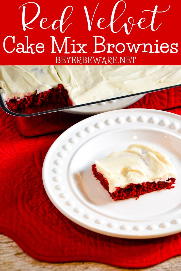 Red velvet cake mix brownies recipe topped with an easy cream cheese icing is an easy Christmas treat you can make in a hurry with staple ingredients.
