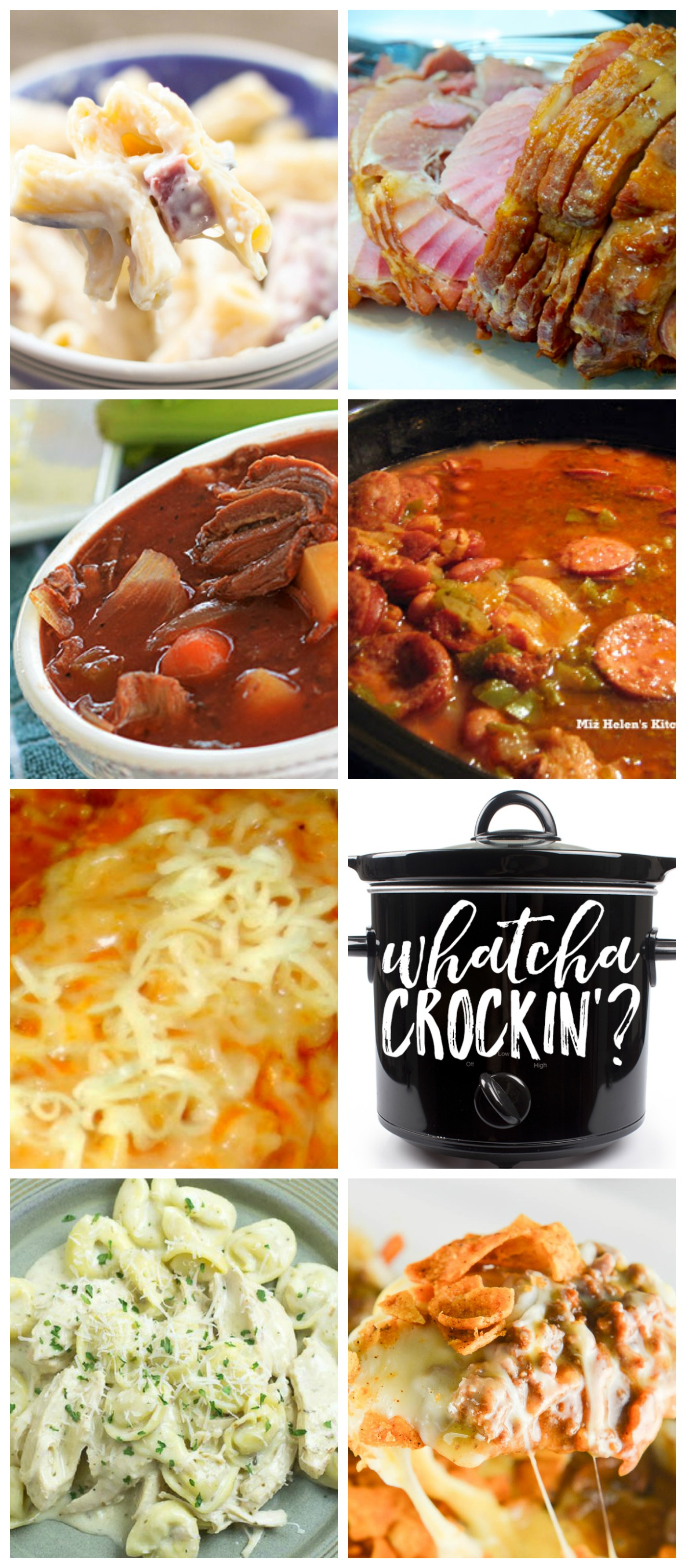 This week's Whatcha Crockin' crock pot recipes include Slow Cooker Cajun Red Beans and Rice, Ham and Cheese Pasta Bake, Slow Cooker Beef Stew, Crock Pot Chicken Alfredo Tortellini, Crock Pot Taco Bake, Crock Pot Garlic Honey Mustard Ham, Slow Cooked Spanish Chicken With Chorizo Spiced Rice and much more!