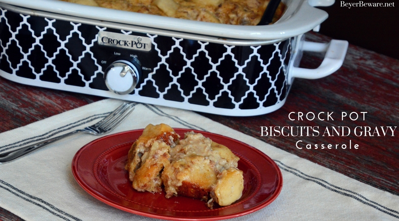 Want to feed a crowd biscuits and gravy easily? Look no further than this crock pot biscuits and gravy casserole recipe that can be kept warm all morning.