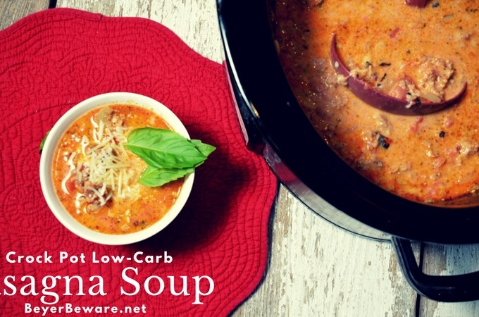 Creamy, rich, and meaty make this crock pot low-carb lasagna soup recipe a hearty one I will make over and over. Perfect keto recipe and for Atkins diets!
