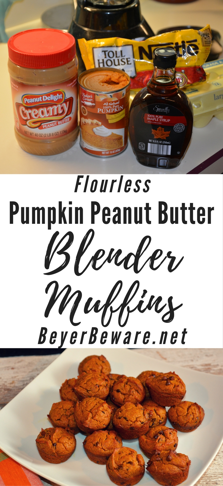 For anyone looking for a gluten-free muffin that is still satisfying, look no further than this flourless pumpkin peanut butter chocolate chip blender muffin recipe.