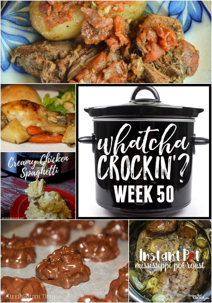 This week's Whatcha Crockin' crock pot recipes include Crock PotPeanut Candy Clusters, No Fuss Chicken Dinner, Mississippi Pot Roast - Electric Pressure Cooker, Slow Cooker Greek Beef and Potatoes, Crock Pot Creamy Chicken Spaghetti, Slow Cooker Chicken Corn Chowder, Crock Pot Taco Rice Casserole.