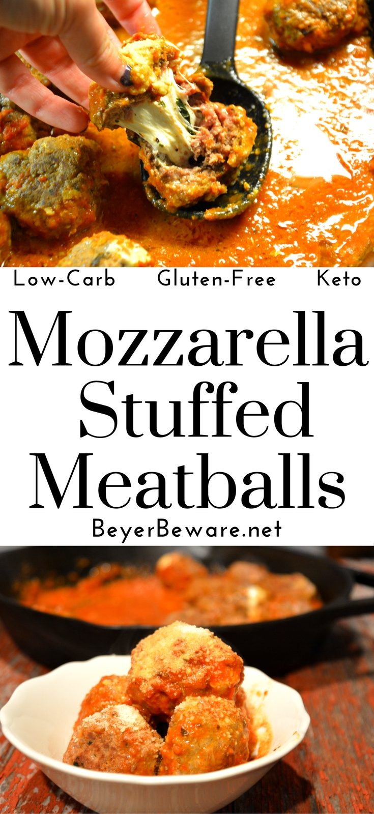 These mozzarella stuffed meatballs are a must make. Tonight. These can be a low-carb and gluten free meal or served as spaghetti and meatballs.