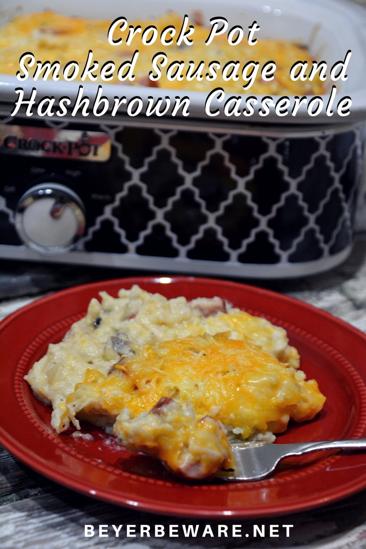 Crock pot smoked sausage and hashbrown casserole is a simple cheesy sausage and potato recipe that is a great weeknight meal in my beloved casserole crock pot.