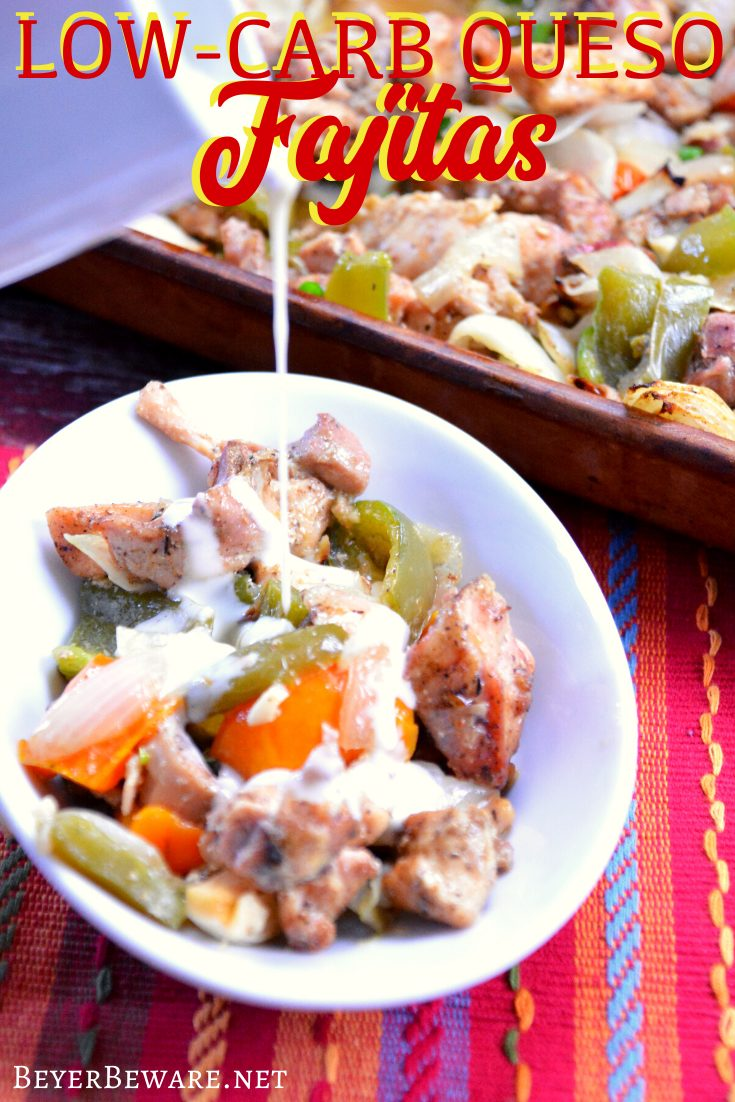 Low-Carb Queso Fajitas are a simple sheet pan baked fajita recipe that becomes cheesy chicken fajitas perfect for keto Mexican dinner.