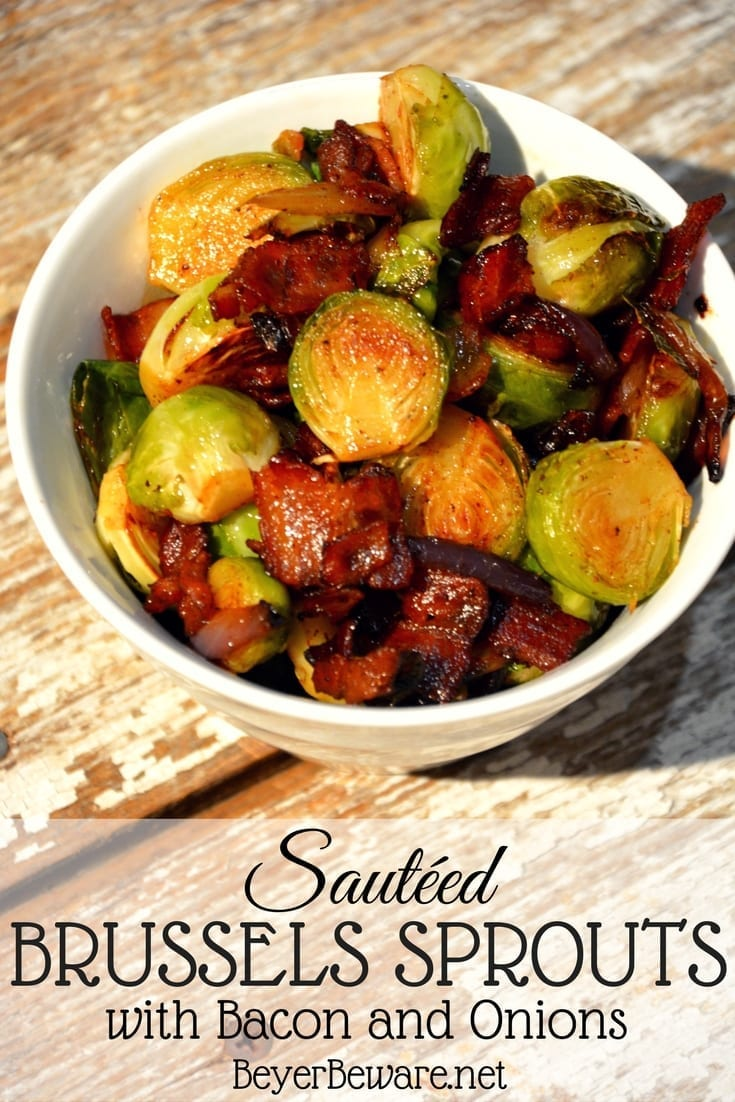Sautéed Brussels Sprouts with bacon and onions are the way to eat Brussels Sprouts. Caramelized red onions with crispy fried bacon make these Brussels Sprouts full of rich flavor and melt in your mouth. #CastIron #Keto #Lowcarb #Sidedishes