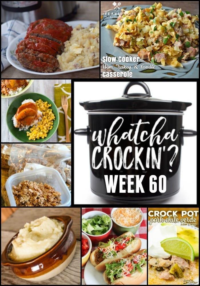 This week's Whatcha Crockin' crock pot recipes include Instant Pot Meatloaf and Mashed Potatoes, Slow Cooker Ham, Turkey and Noodle Casserole, Crock Pot Spiced Peach Pork Chops, Crock Pot Taco Joes, Instant Pot Low-Carb Mashed Cauliflower, Crock Pot Pork Chile Verde, Crock Pot Ground Beef and more!