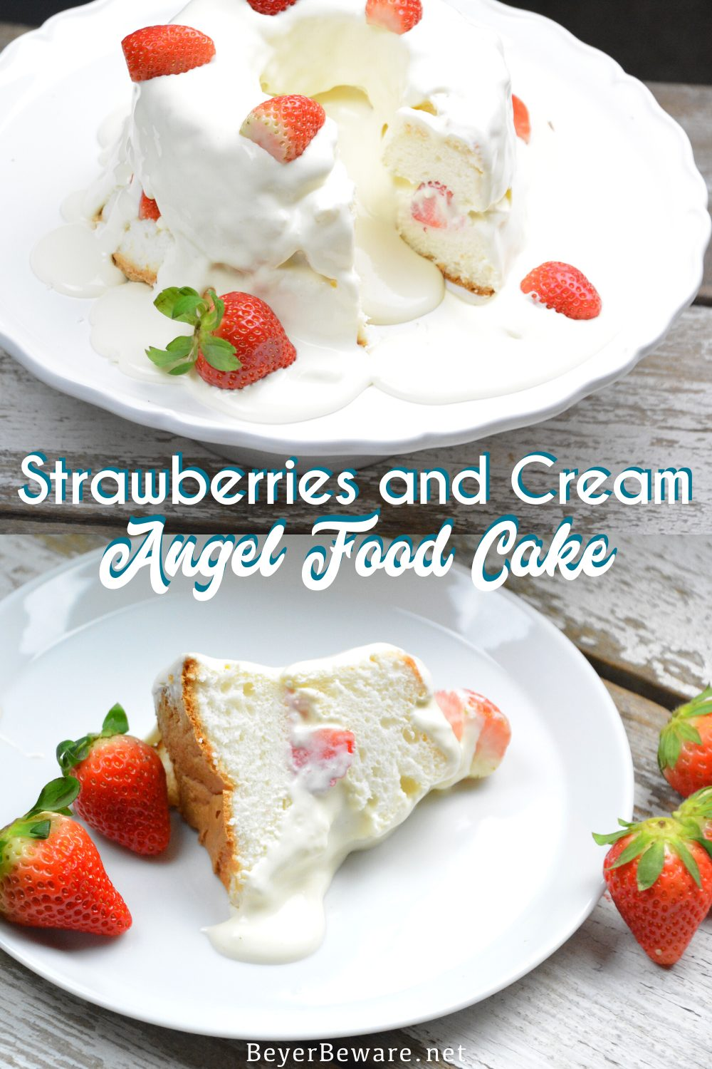 Strawberries and Cream Angel Food Cake is a semi-homemade dessert that is ready in under 10 minutes with the sweet combination of cool whip, cheesecake pudding, and powdered sugar poured over angel food cake and strawberries. #EasyRecipes #Cake #Dessert #Strawberries