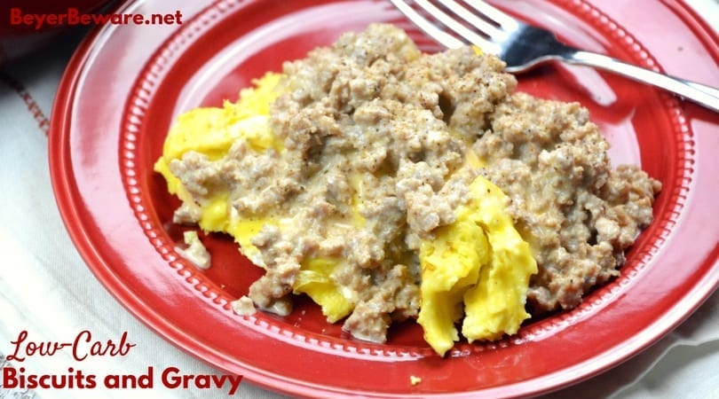 Low-Carb biscuits and gravy are creamy and flavorful. With a bed of fluffy scrambled eggs, the low-carb sausage gravy is satisfying and filling.
