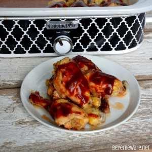 Crock Pot BBQ Ranch Chicken Legs is a simple three ingredient chicken recipe that cooks in the casserole crock pot in three hours. #CrockPot #ChickenRecipes #ChickenLegs