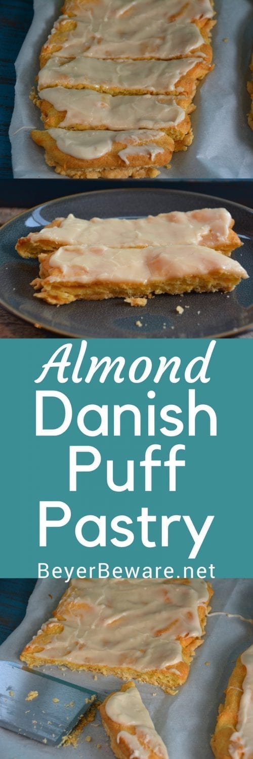 Every time I make almond Danish puff pastry I always wonder why I don't make it more often. It is light and fluffy with a double crust and full of almond flavor.