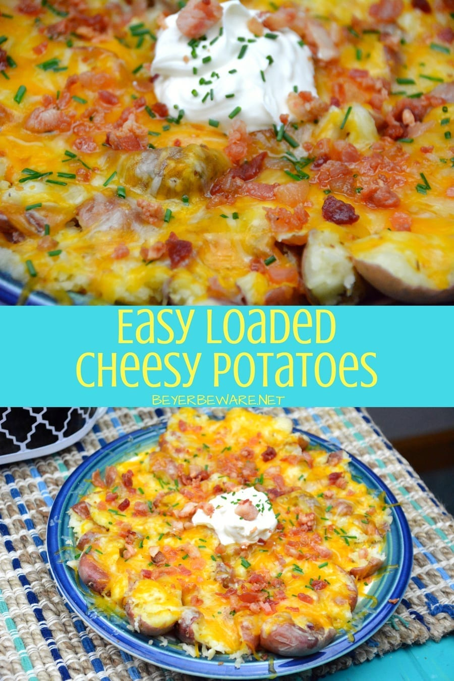 Quick cheesy potatoes are an easy loaded cheesy potatoes recipe with all of your loaded baked potato toppings that can be done in under 20 minutes.