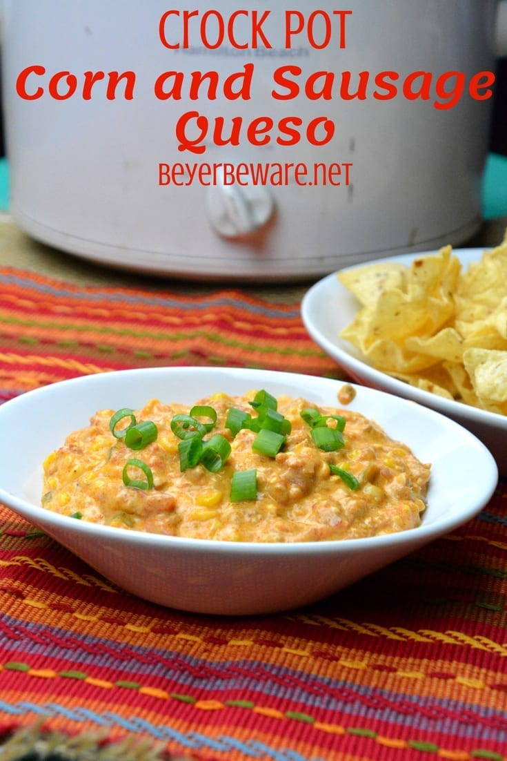 This crock pot corn and sausage queso dip is spicy from the chorizo with a hint of sweet from the corn and will be a new favorite cheese queso dip recipe.