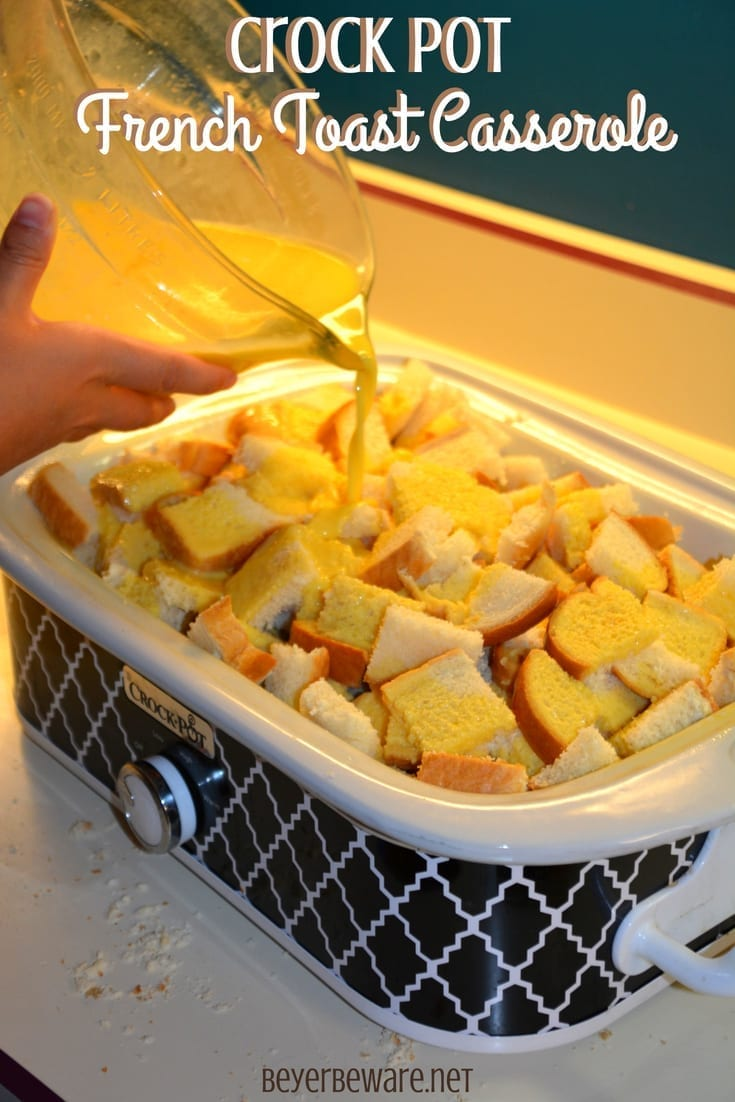 Real maple syrup and an insane amount of butter bring so much richness and flavor to this crock pot french toast casserole recipe.