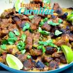 Instant Pot Carnitas combine pork shoulder pieces with citrus, Mexican seasonings, and beer to create a quick, tender, and flavorful carnitas recipe. #Instantpot #Carnitas #MexicanRecipes #PorkRecipes