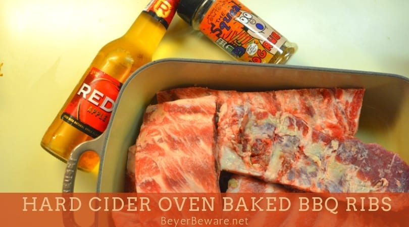 Hard cider oven-baked BBQ ribs are an easy combination of dry rub, hard cider, and barbecue sauce where the flavors meld together after hours of slow roasting. #ribs #Spareribs #BBQ