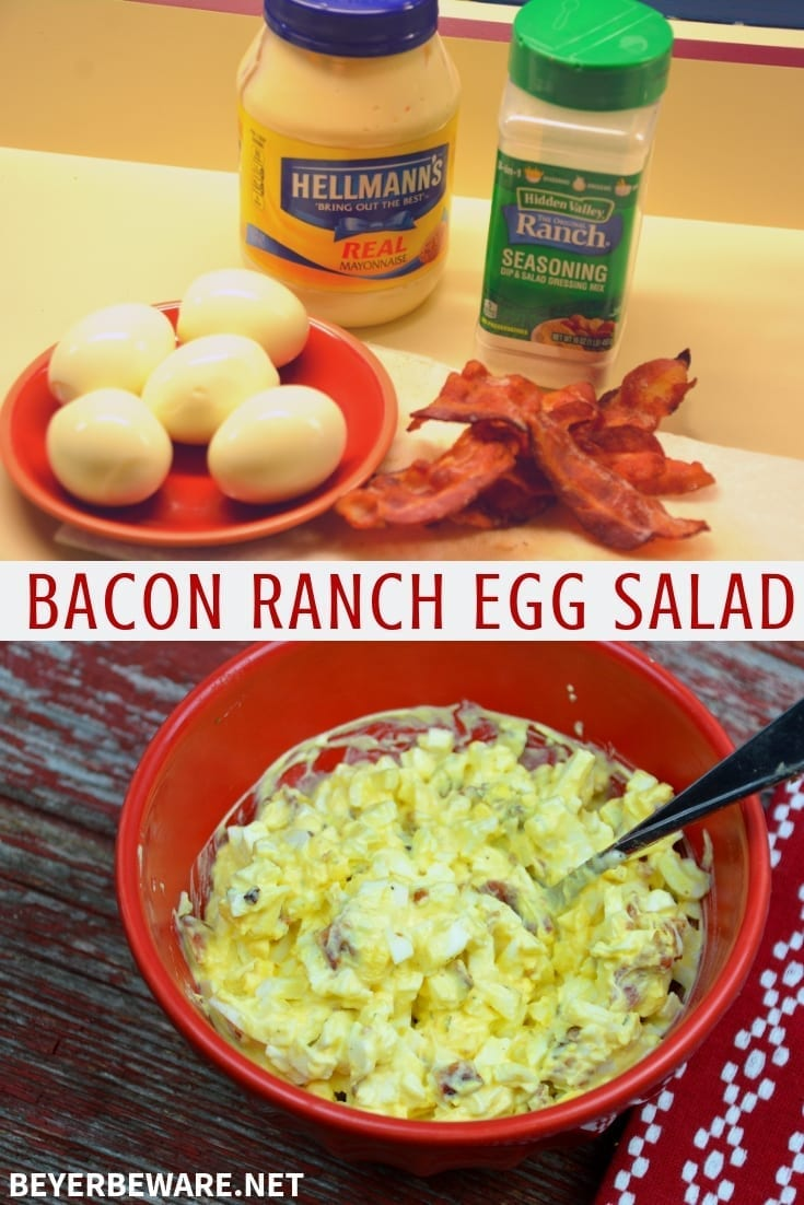 Bacon Ranch Egg Salad is a low-carb and keto egg salad recipe with four simple ingredients for a new twist on a classic recipe. #EggSalad #Keto #LowCarb #bacon