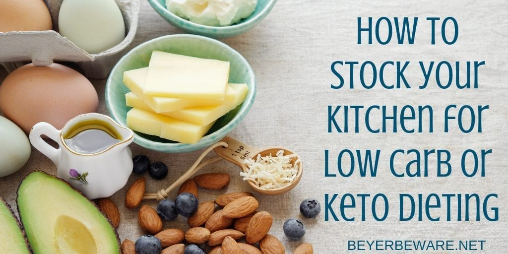 How to stock your kitchen for low carb or keto dieting - Food lists for helping be successful on a low carb diet. #Keto #LowCarb #Dieting
