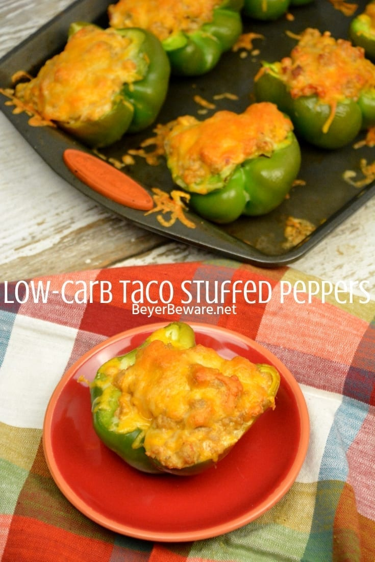 Low-Carb Taco Stuffed Peppers have a queso sausage filling that is full of your favorite Mexican flavors and baked to form a cheesy crust over the peppers and sausage filling. #Keto #Lowcarb #StuffedPeppers #Sausage #Queso #GlutenFree