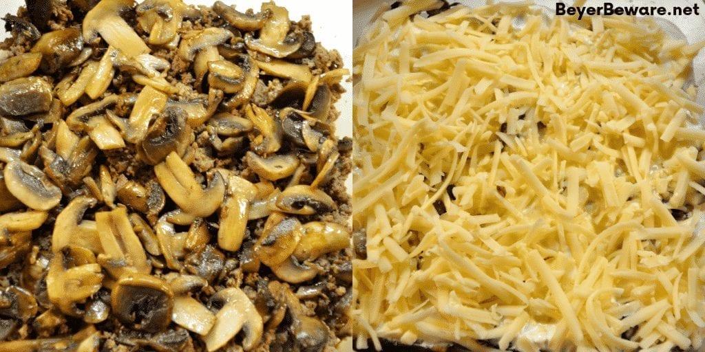 Keto Mushroom Swiss Burger Casserole recipe is a simple low carb ground beef casserole combining hamburger, swiss cheese, mushrooms and baked for 20 minutes. #keto #LowCarb #GroundBeef #Burger #Casserole #Hamburger #Beef #KetoRecipes