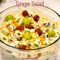 Cream cheese grape salad is an easy 5-ingredient fruit salad recipe made with red and green grapes, cream cheese, sour cream, and brown sugar.