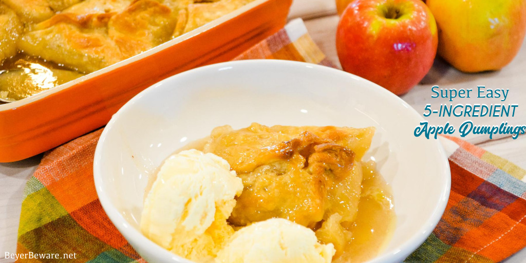 Easy Apple Dumplings recipe is a 5-ingredient apple dessert that is made with store-bought pie crusts, apples, cinnamon and sugar, butter, and simple cinnamon and sugar syrup for the easiest apple dumplings recipe ever.