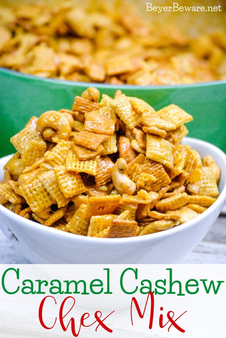 Caramel Cashew Chex Mix is a sweet caramel coated Chex and Golden Graham cereal mix that also includes the buttery and salty addition of cashews. #ChexMix #Caramel #Cereal #Snacks #Recipes