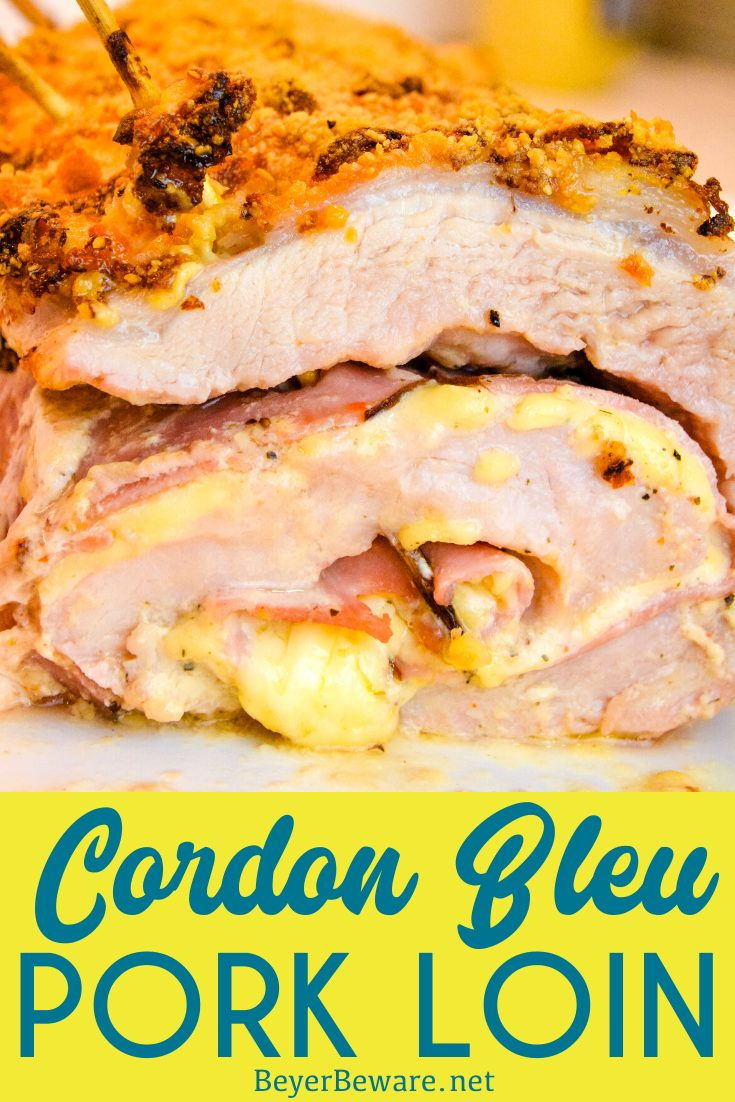 Cordon bleu pork loin recipe is stuffed full of ham and swiss cheese rolled up in a creamy mustard sauce and encrusted in a parmesan crust for an outrageously good low-carb pork loin entree.