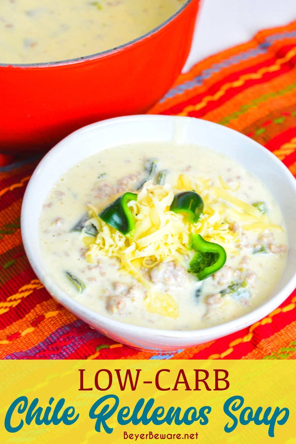 Low-carb chile Rellenos soup is a creamy keto Mexican soup recipe combining queso and cream cheese, ground pork, taco seasonings, and poblano peppers. This keto poblano pepper and sausage soup is full of flavors just like your favorite chile Rellenos at your favorite Mexican restaurant. #Soup #Keto #LowCarb #MexicanFood #Recipes #GlutenFree