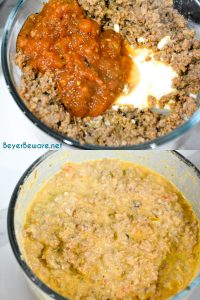 Make creamy taco meat filling by mixing cream cheese and salsa together.