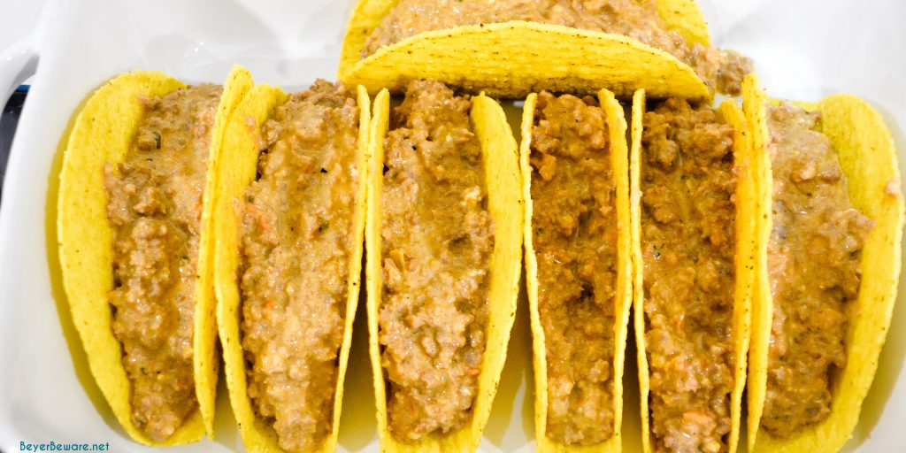 Ground beef filling in taco shells for baking