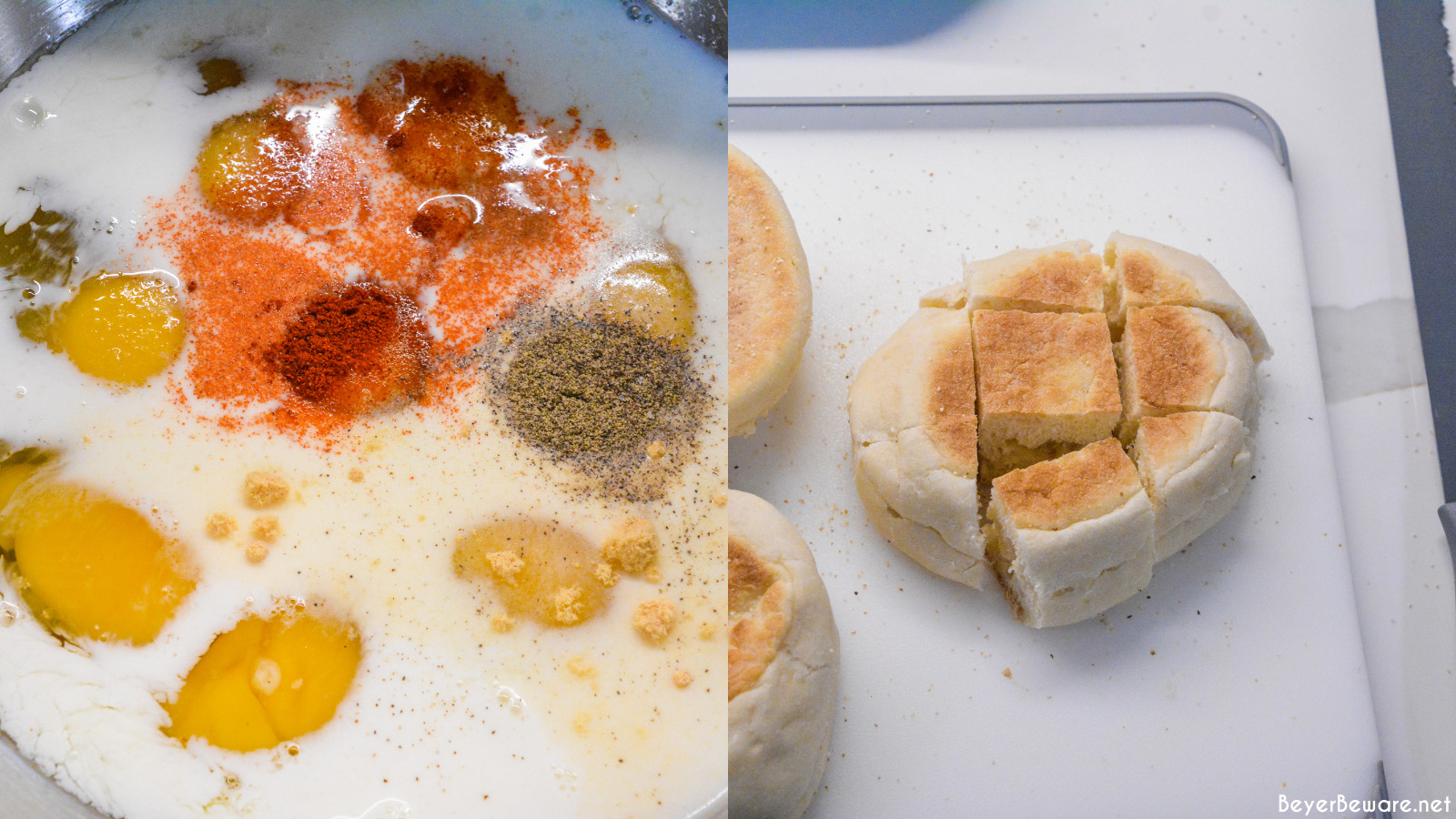 Mixing eggs and milk as well as cubing an English Muffin