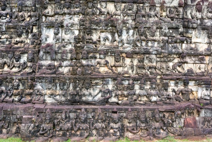 Historical architectural designs at Elephants Terrace and the Leper King Terrace at Angkor Thom