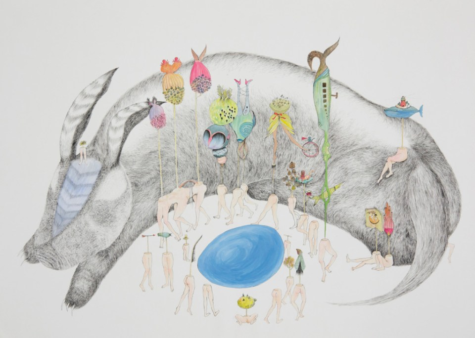 HO Szu-Wei 何思瑋 Blue Egg I 藍蛋 I 2012 Watercolor and gouache on paper 水彩 76 x 110 cm